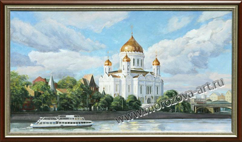 Купить или заказать живописное полотно Вид на Храм Христа Спасителя