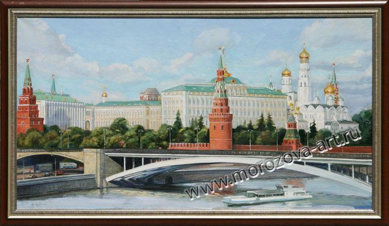 Купить или заказать живописное полотно Вид на Московский Кремль, цена - о Договорная.