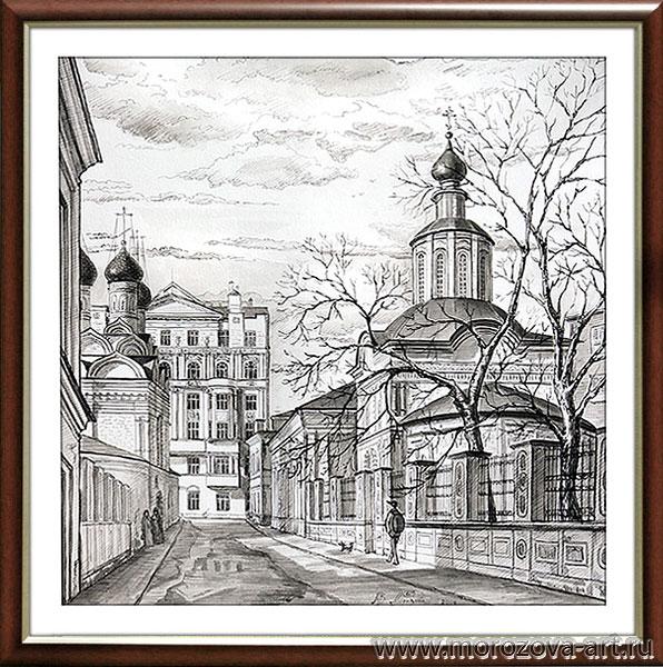 Рисунок тушью Церковь Иоанна Предтечи под Бором в Замоскворечье